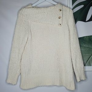 Soft Surroundings White Chenille Chunky Sweater